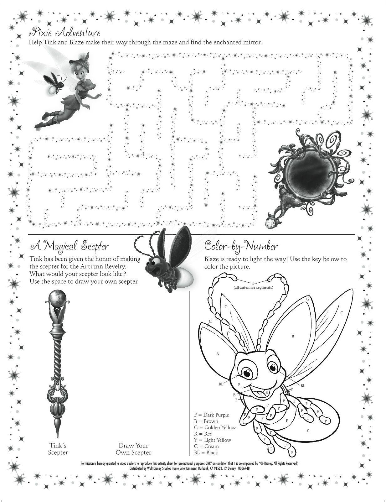 Tinker Bell Party Ideas Tinkerbell Activity Sheet