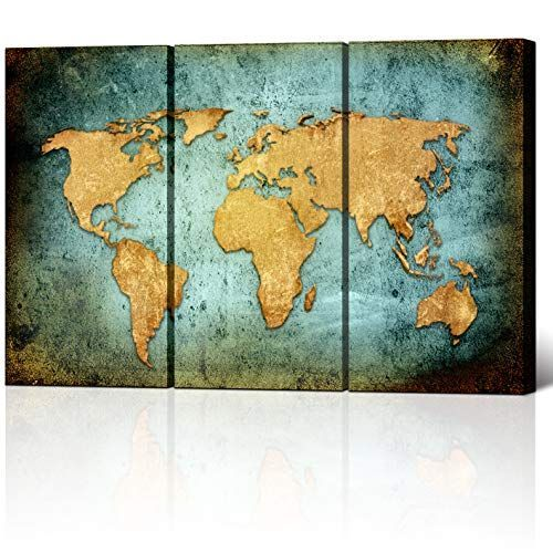Large Size Vintage World Map Poster Printed On Canvas,Blue Sea Yellow Map Printing Mural Art ... #worldmapmural Large Size Vintage World Map Poster Printed On Canvas,Blue Sea Yellow Map Printing Mural Art For Wall ,Framed and Stretched,World Map Canvas Prints for Living Room,Office,Hotel,Ready to Hang #worldmapmural