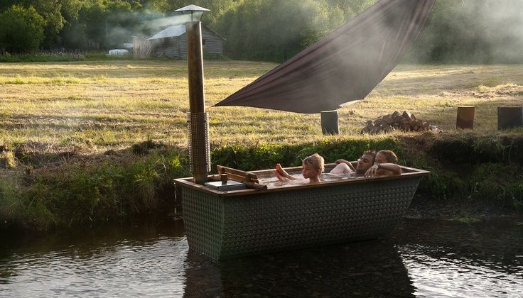 bohemian tub | Hikki Bohemian wood fire tub
