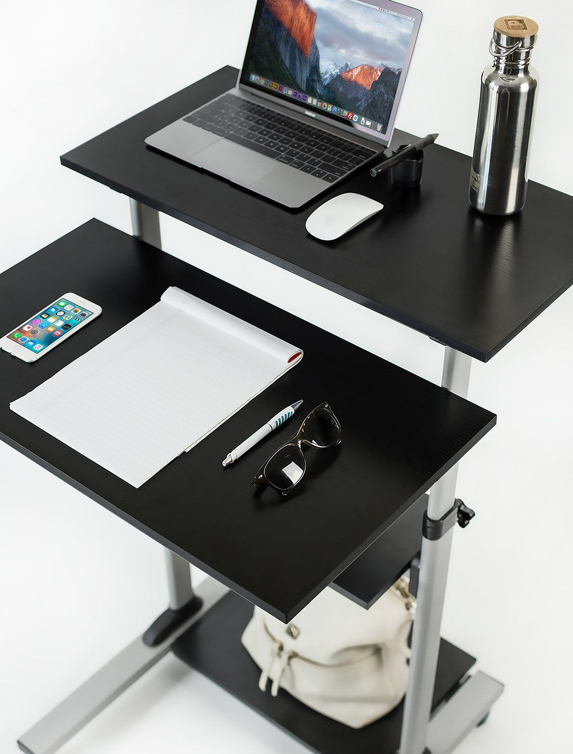 Mountit mobile stand up desk height adjustable computer work