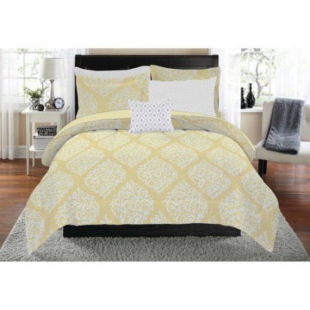 Mainstays Leaf Medallion 8 Piece Bed In A Bag Yellow