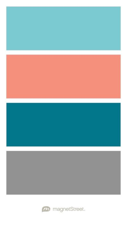 Turquoise Coral Peacock And Classic Gray Wedding Color Palette Custom Color Palette Created At Magnetstree Wedding Color Palette Room Colors Color Palette