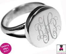 Sterling - Ring - Round Engraved Ring with Split Band ENGRAVED STERLING COLLECTION IS HERE!   www.misslucysmonograms.com