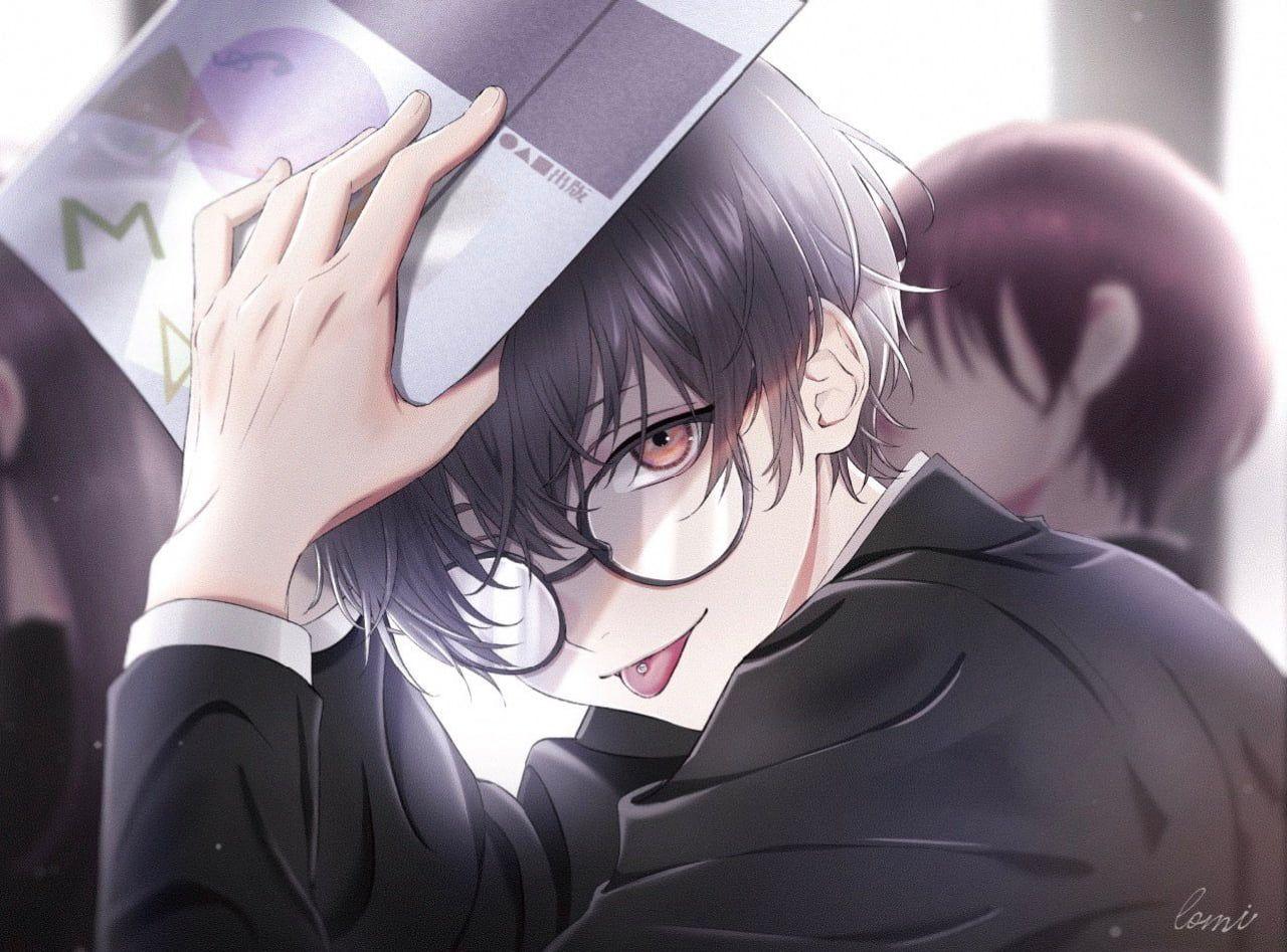 Anime Boys Male Tongue Out Pierced Tongue Glasses Black Hair Dark Hair Books Classroom School Uniform Brown E In 2020 Cute Anime Guys Anime Boy Hair Handsome Anime