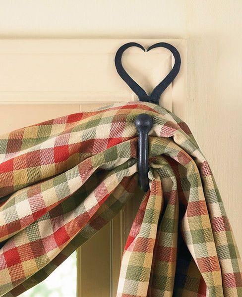 Fishtail Swag Curtain Hook Heart Primitive Bathrooms Swag