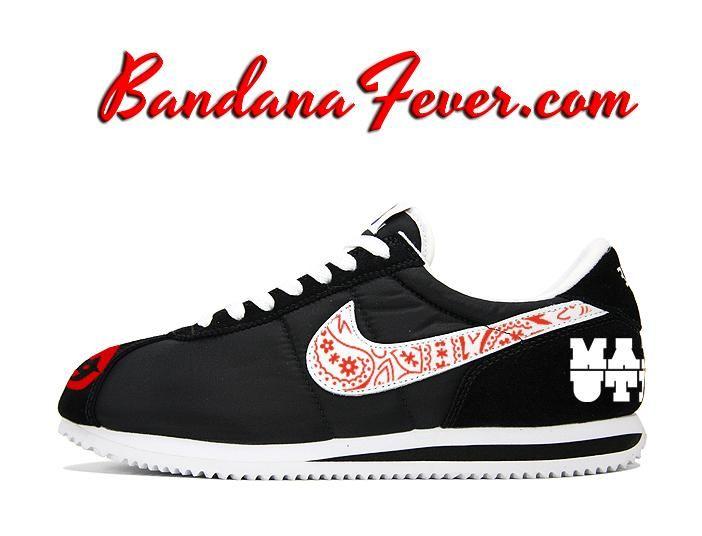 sports shoes d9b9e 5f0b9 ... new zealand custom red devils nike cortez nylon black white red bandana  swoosh manutd by bandana