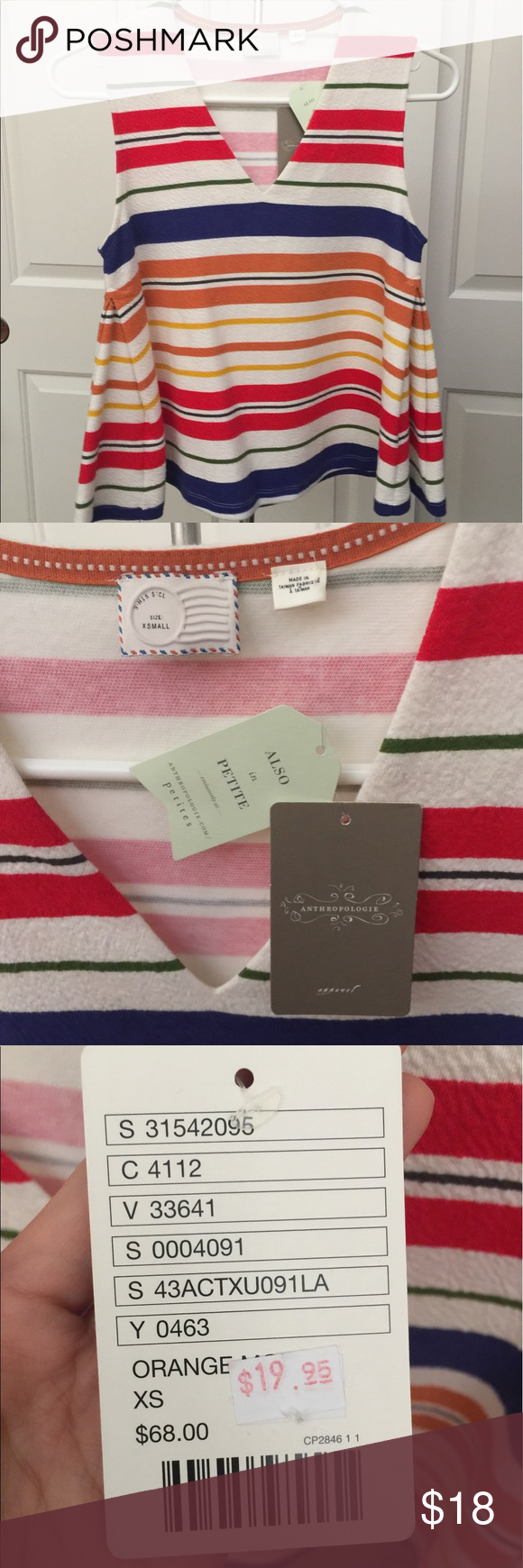 NWT Striped Anthropologie Top White tank with colorful stripes. BRAND NEW with tags. Size XS. Anthropologie Tops