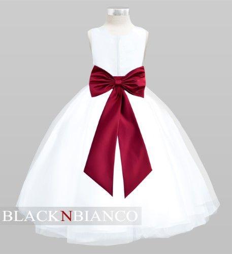 Black N Bianco Tulle Flower Girl Dress White W/ Colored
