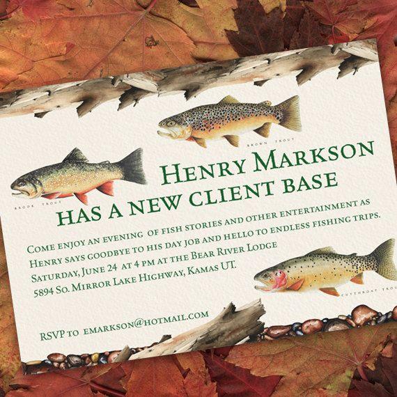 retirement party invitations, fishing retirement party, fresh water - fresh birthday party invitation ideas wording