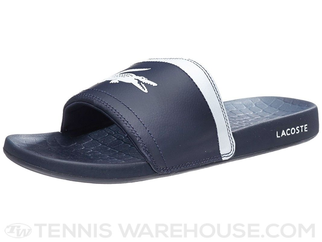 08f942407aec Lacoste Frasier Slide Dark Blue White Men s Shoes