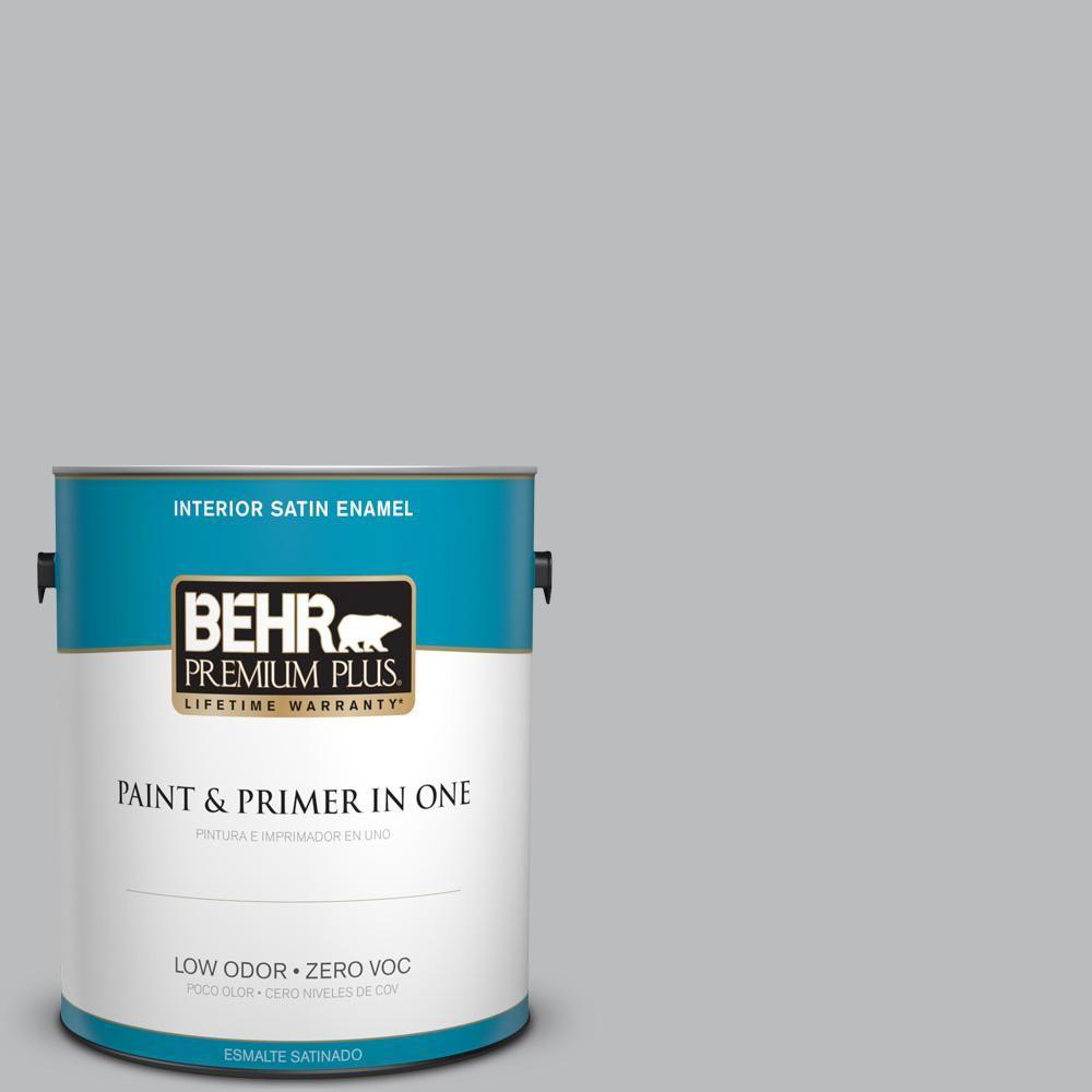 BEHR Premium Plus 1 gal. #PPU18-05 French Silver Zero VOC Satin Enamel Interior Paint