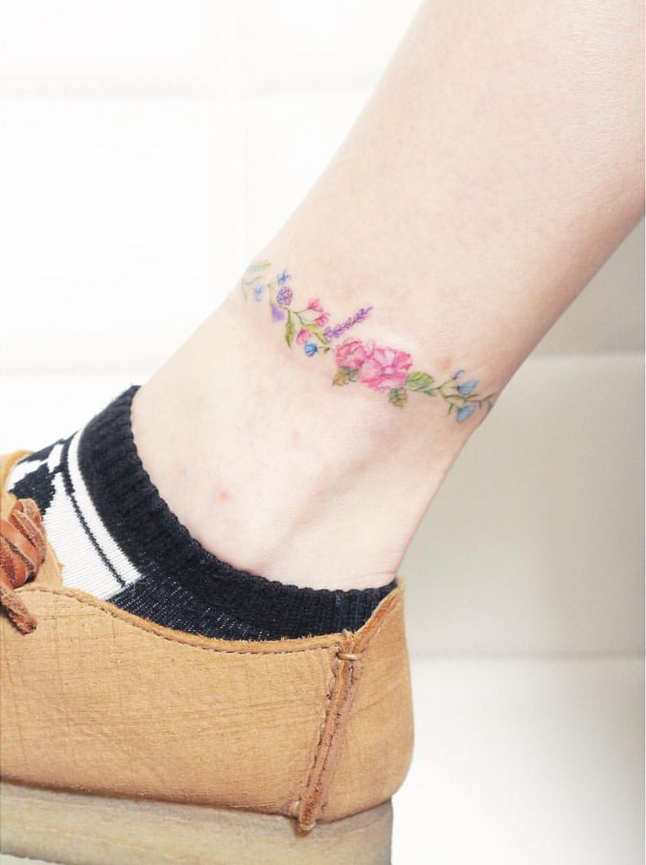Watercolor Ankle Tattoo Ankle Tattoo Ankle Tattoo Designs Tattoos