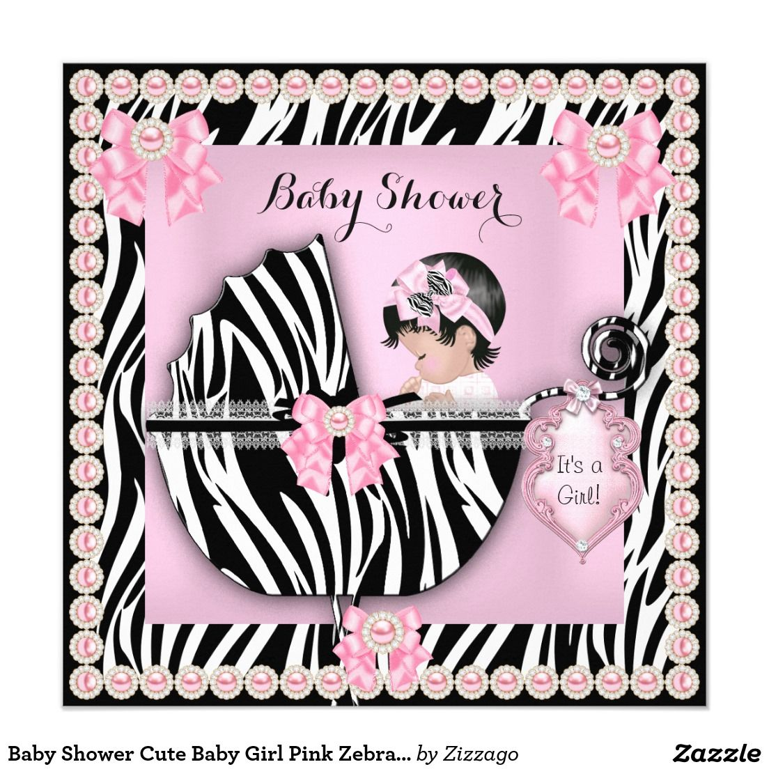 Baby Shower Cute Baby Girl Pink Zebra Pearl 5.25x5.25 Square Paper ...