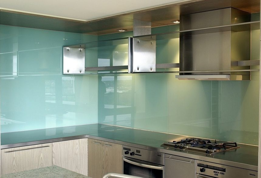 High Quality Light Blue Glass Backsplash For Kitchen With Stainless Steel Cabinets |  Decolover.net
