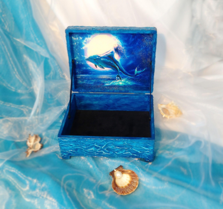 handmade box Dolphin and Mуrmeid шкатулка Дельфин и Русалка