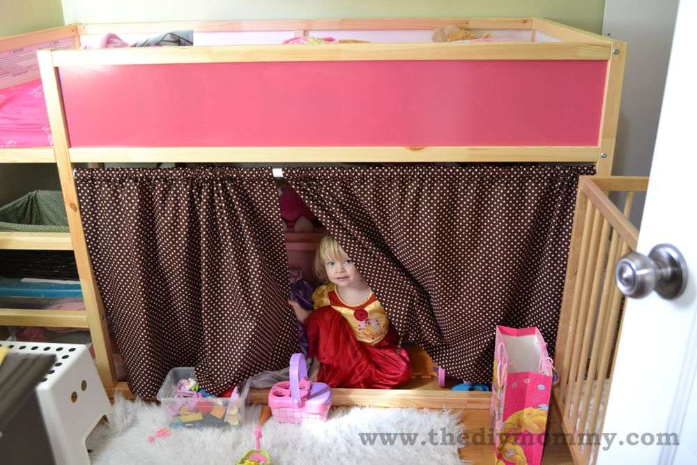 IKEA Kura Bunk Bed Curtains Hack Recipe for curtain sizing