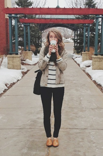 Oxfords, dark jeans, stripes, and military jacket. -- and a cute girl to boot. Hur hur.