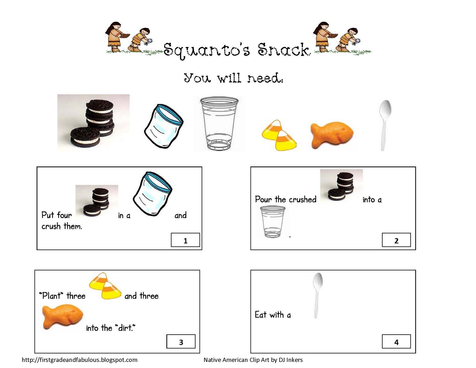 squanto u0027s snack love this i used the rebus story as directions
