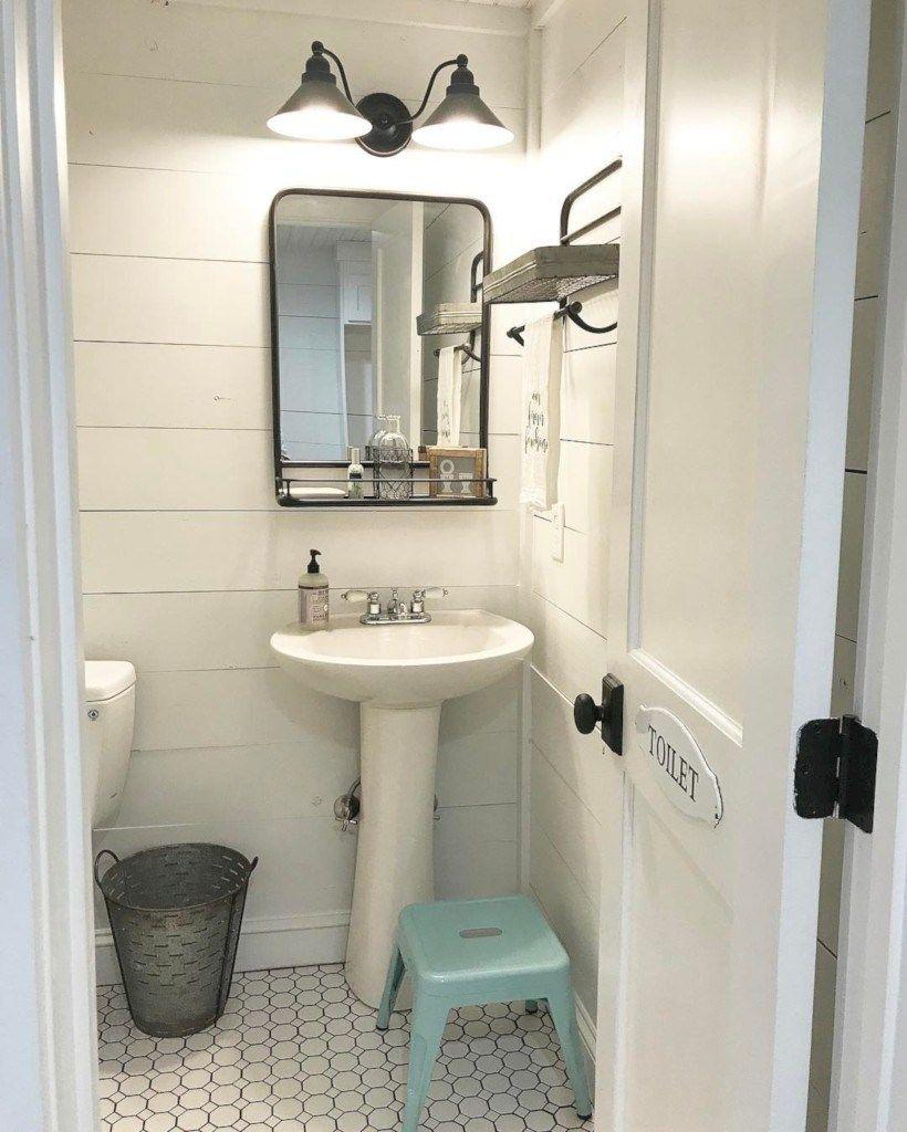 Rustic farmhouse bathroom ideas with shower 18 | Half bathroom decor ...