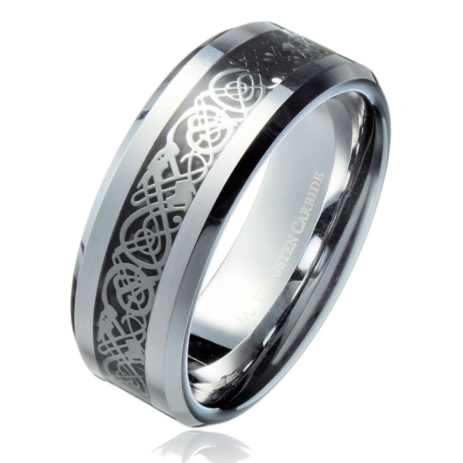 8MM Celtic Dragon Black Background Tungsten Carbide Ring Wedding