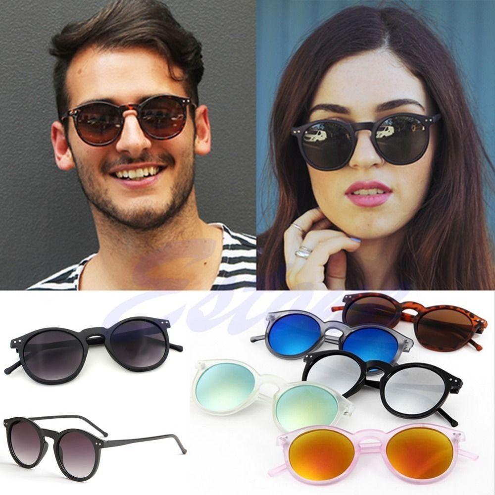 b3d9a66489d Vintage Retro Men Women Glasses Round Metal Frame Mirror Lens Sunglasses  Eyewear  hats