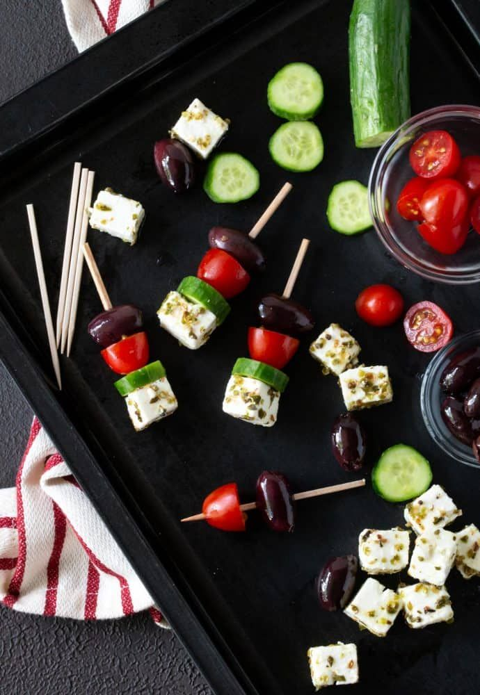 Greek Salad Skewers - Garnish with Lemon