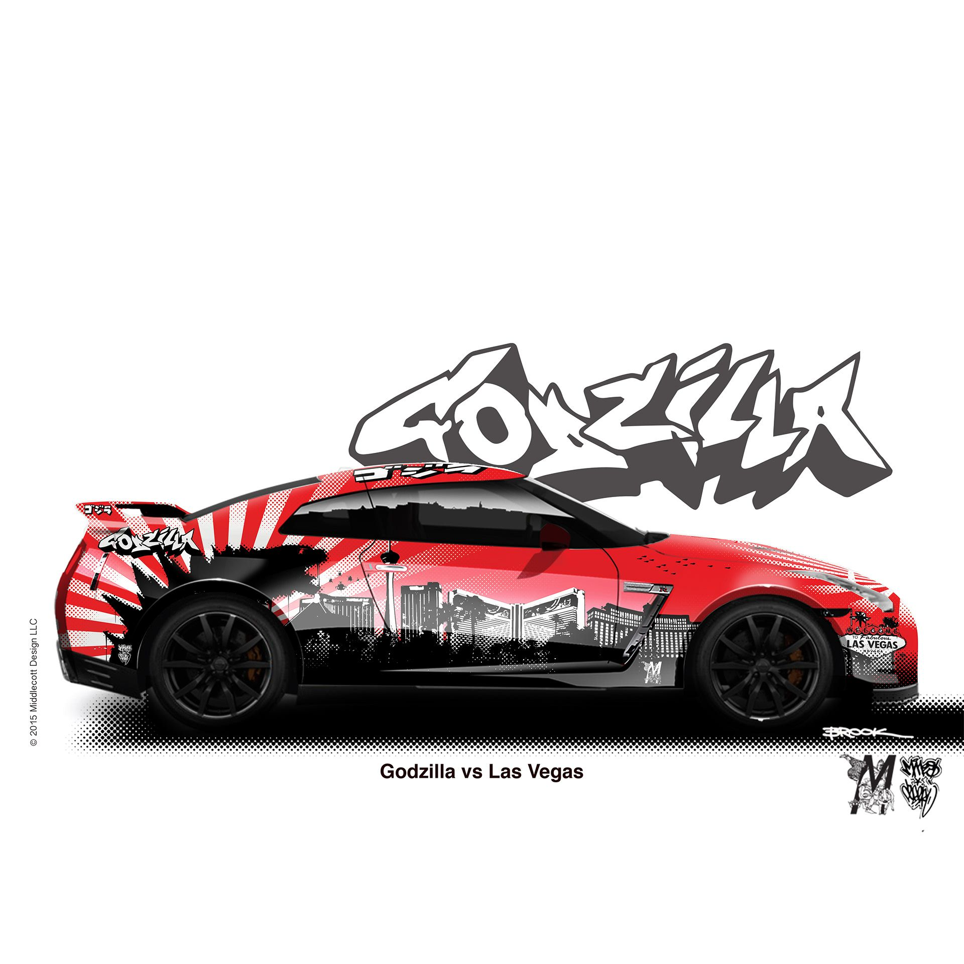 Middlecott Design Godzilla Vs Las Vegas Car Sticker Design Vinyl Wrap Car Godzilla [ 1920 x 1920 Pixel ]
