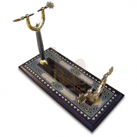 JAMONERO PALO ROJO ESTRELLAS TARACEA GRANADINA 50 x 22 x 34 CMS. Ham holder special Functional and elegant,ham holder, of inlay,  with special support with fasteners to the stainless steel table.