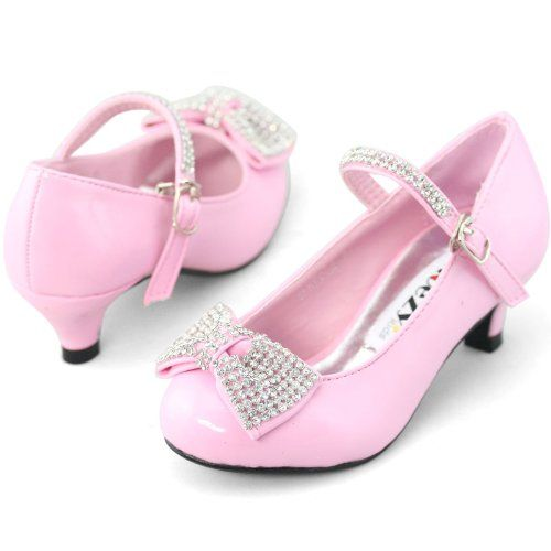SHOEZY KIDS girls patent rhinestones bow youth pageant low heels pumps  shoes Shoezy,http: