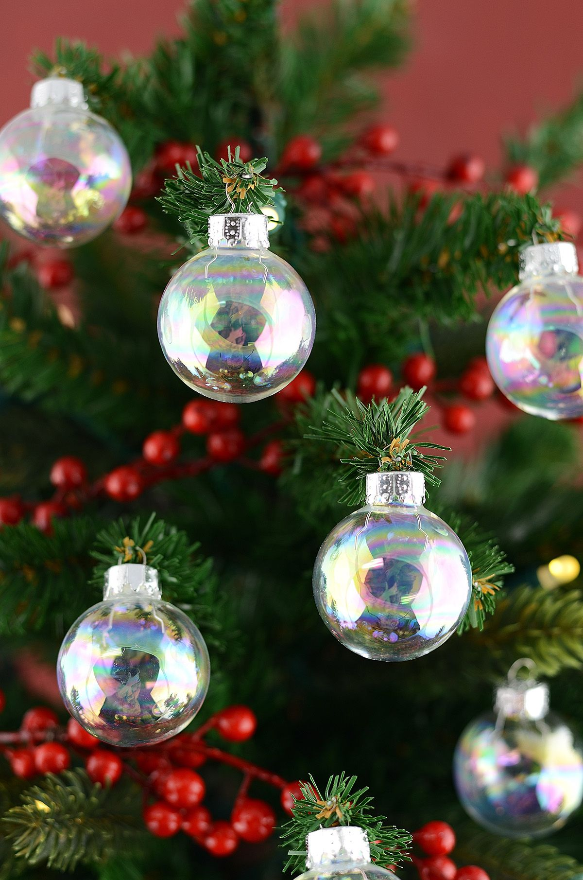 Glass Ornament Balls Iridescent 35mm Pack Of 20 Clear Glass