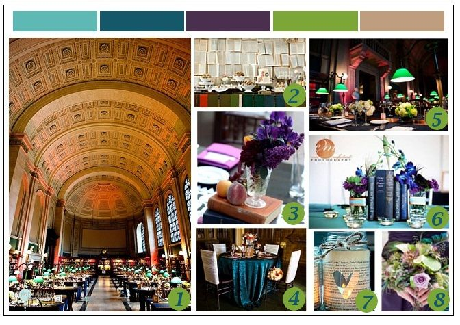 Bookish mood board with bold colors created by Favorite Day Event Production #wedding #library #bookish