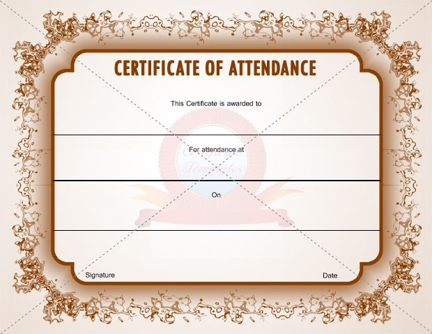 Certificate of attendance template certification of attendance attendance certificate template free attendance certificate template 24 free word pdf documents perfect attendance award certificates 13 best images of yelopaper Images