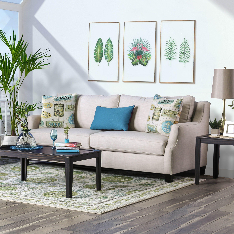 Adina Contemporary Beige Sofa by FOA (Beige), Furniture of America images