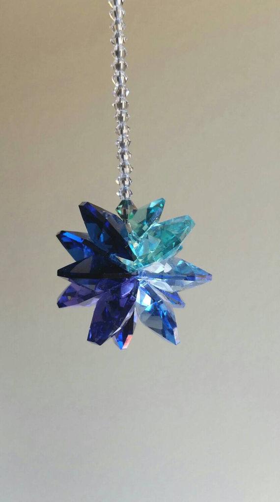 """Round Sunburst Facet 40mm Sapphire Blue Crystal Prism Pendant SunCatcher 1-1//2/"""""""