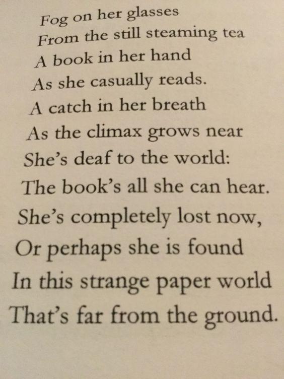 """Fog on her glasses"" (poem about reading)"
