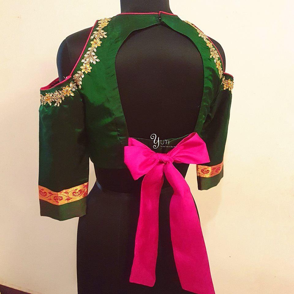 e74aafa303dc7 Creative Back Neck Designs For Silk Saree Blouses
