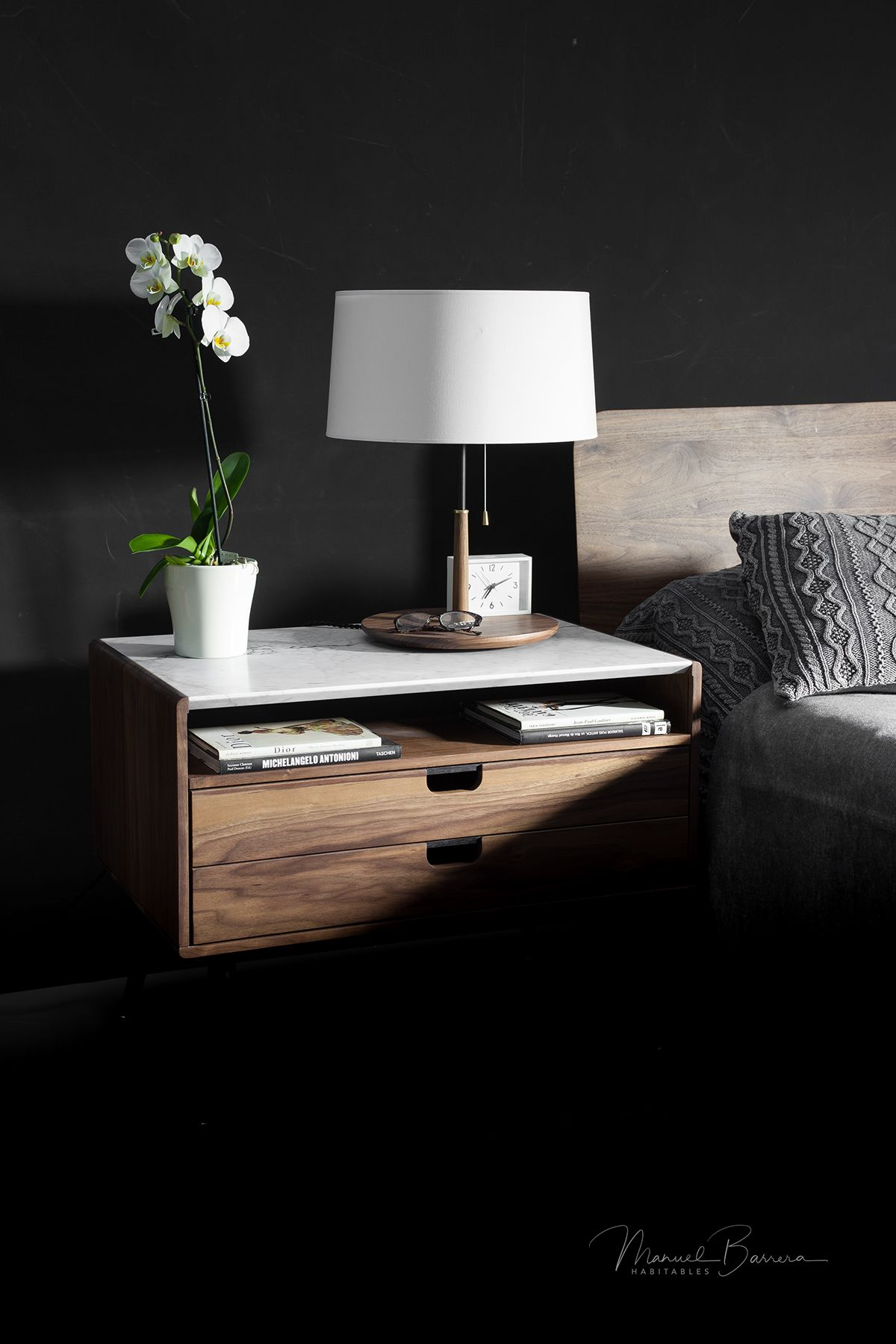 Best Rina Walnut And Marble Nightstand Bedside Table On Behance 400 x 300