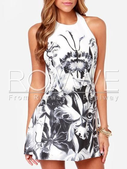 White Halter Backless Floral Print Dress - Brought to you by Avarsha.com