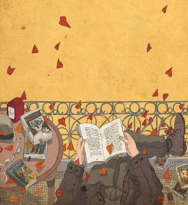 """""""Los libros son amigos que nunca decepcionan"""". Thomas Carlyle. Ilustracion: David Pintor"""