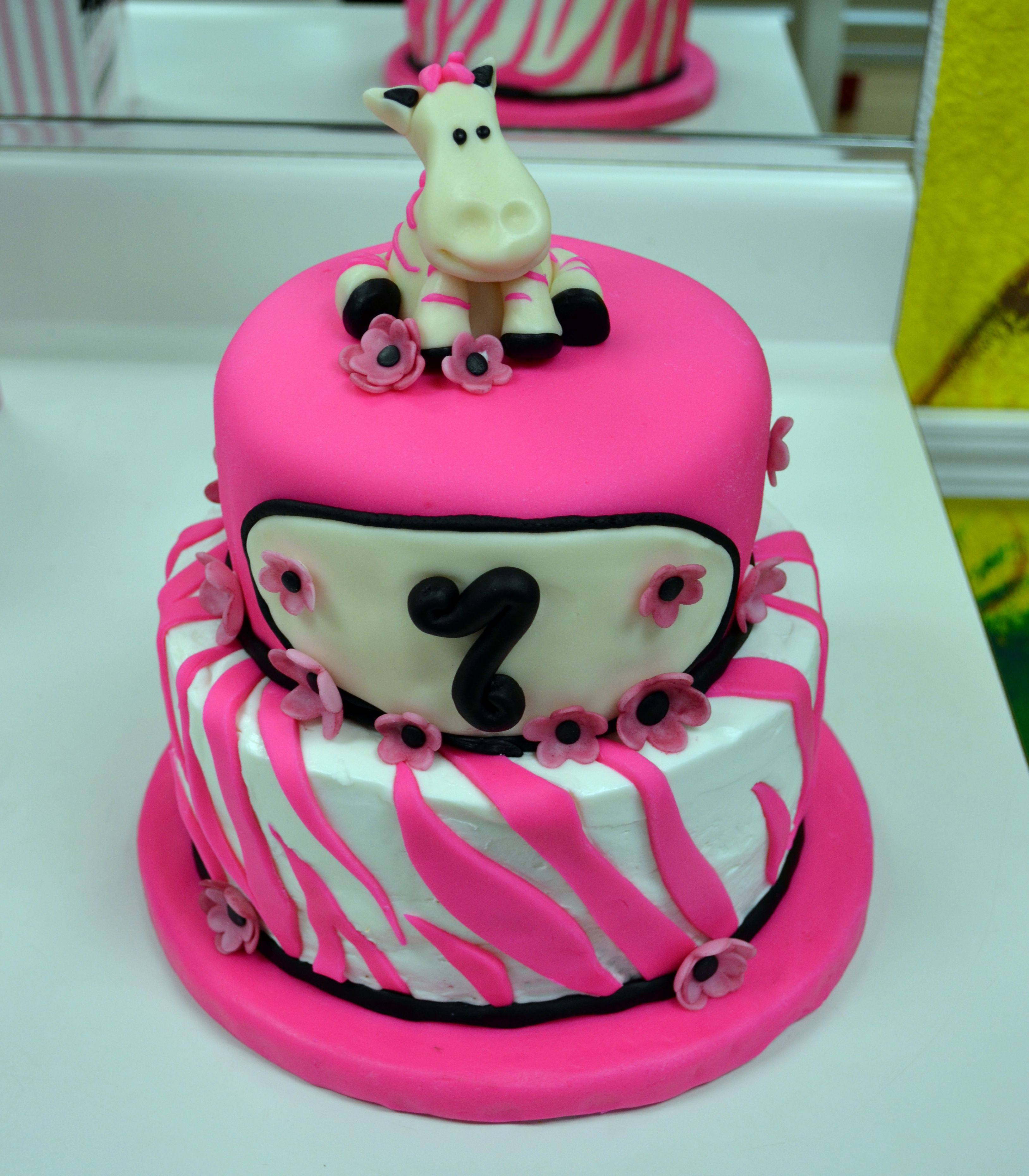 Hot Pink Zebra cake For Gracies 7th birthday 2layer 6 inch round