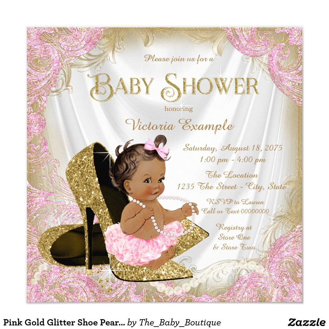 Cheap White Card Pink Gold Glitter Shoe Pearl Ethnic Baby Shower Invitation