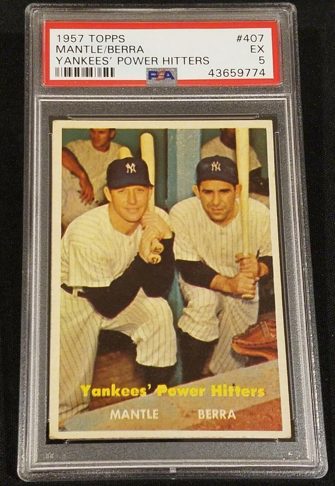 1957 topps 407 mickey mantleyogi berra yankees power