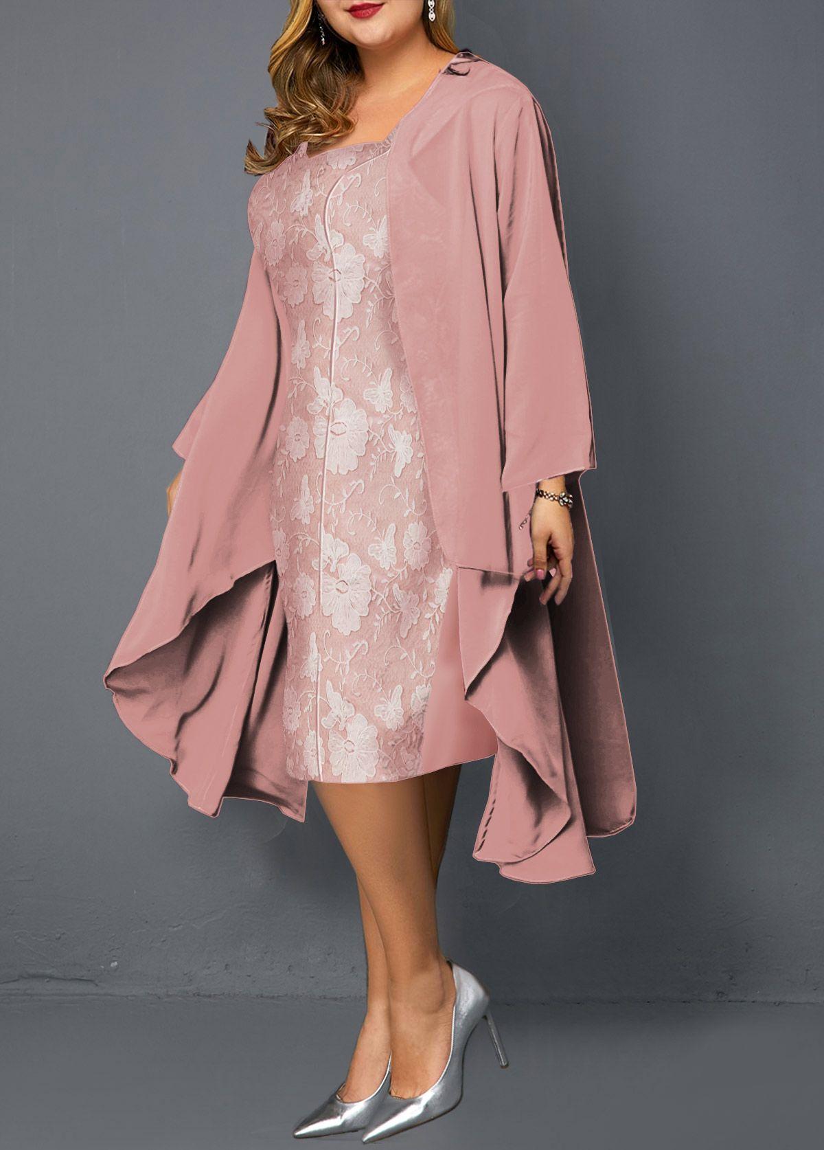 Plus Size Chiffon Cardigan and Sheath Dress #Sponsored