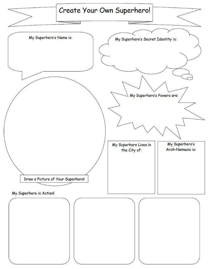 Create Your Own Superhero Worksheet : create, superhero, worksheet, Design, Superhero., Create, Superhero,, Super, Activities