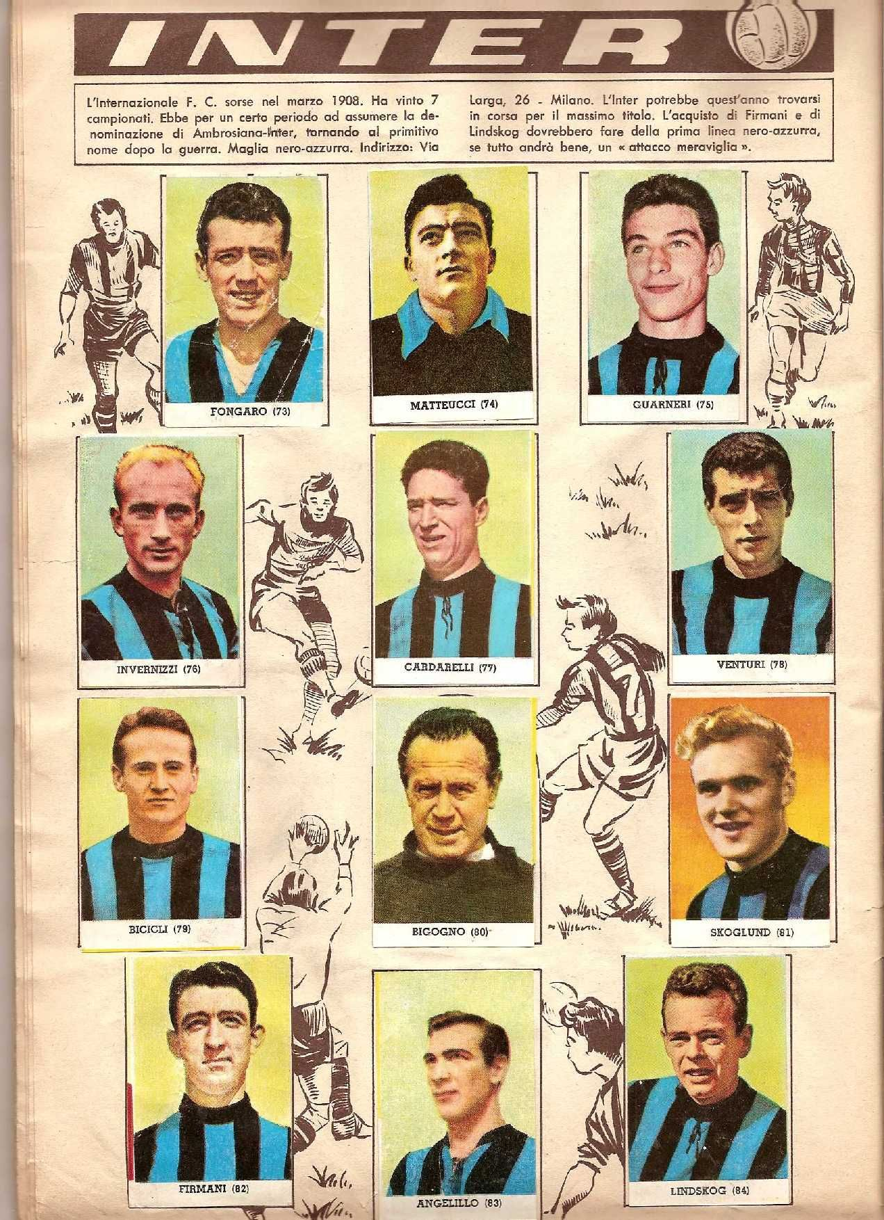 n.79 INTER BICICLI LAMPO CALCIATORI 1958-59 FIGURINA ED