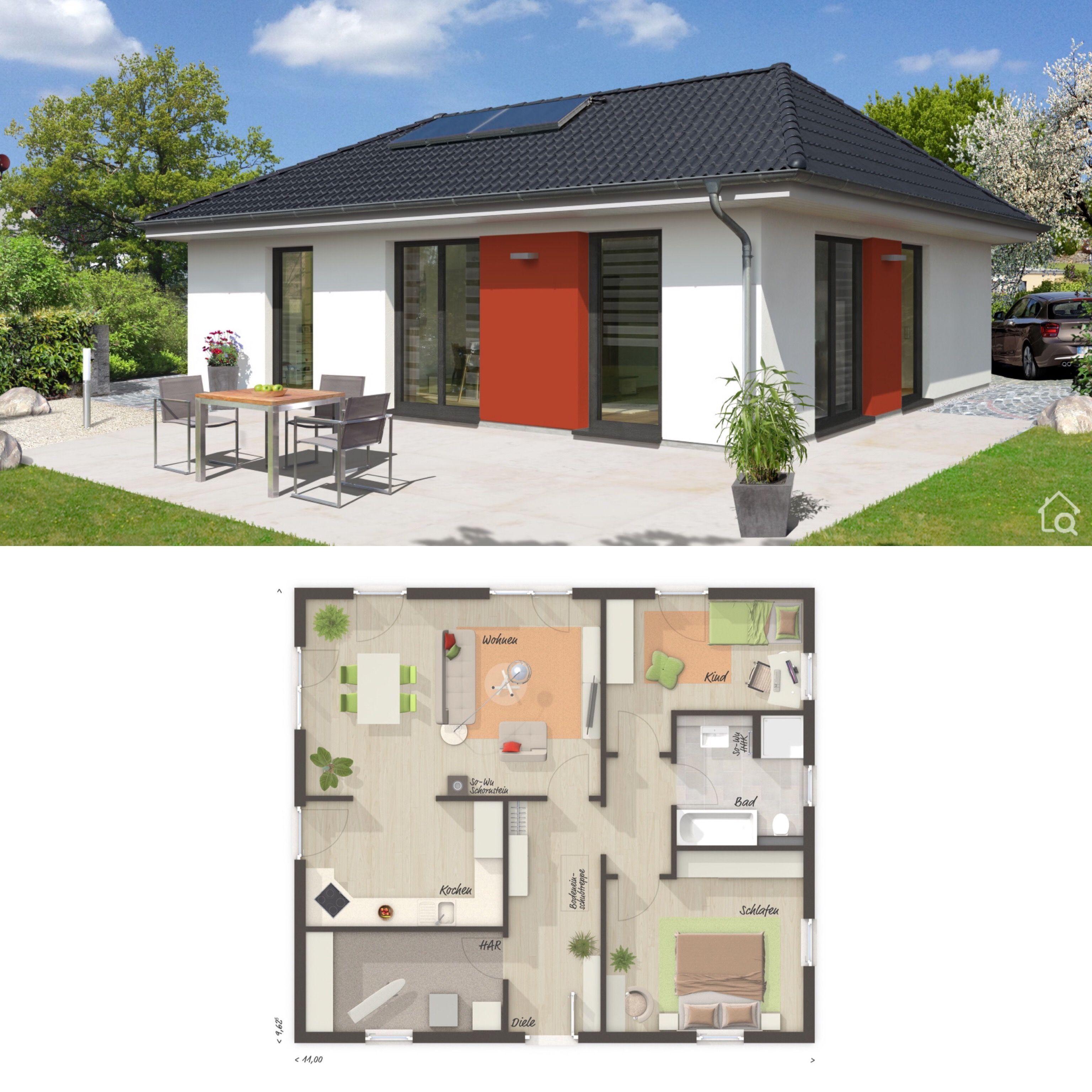 Moderner Bungalow Neubau mit Walmdach Architektur & 3