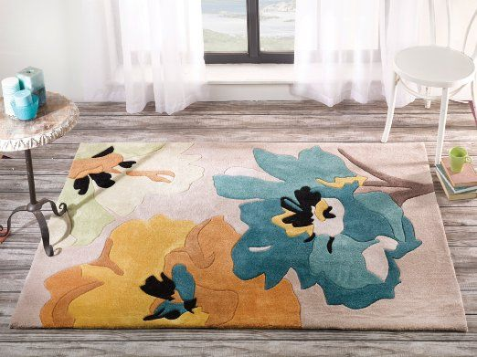 Large Quality Contemporary Flower Design Turquoise Yellow Area Rug In 4 X 5 6 120 170 Cm Carpet