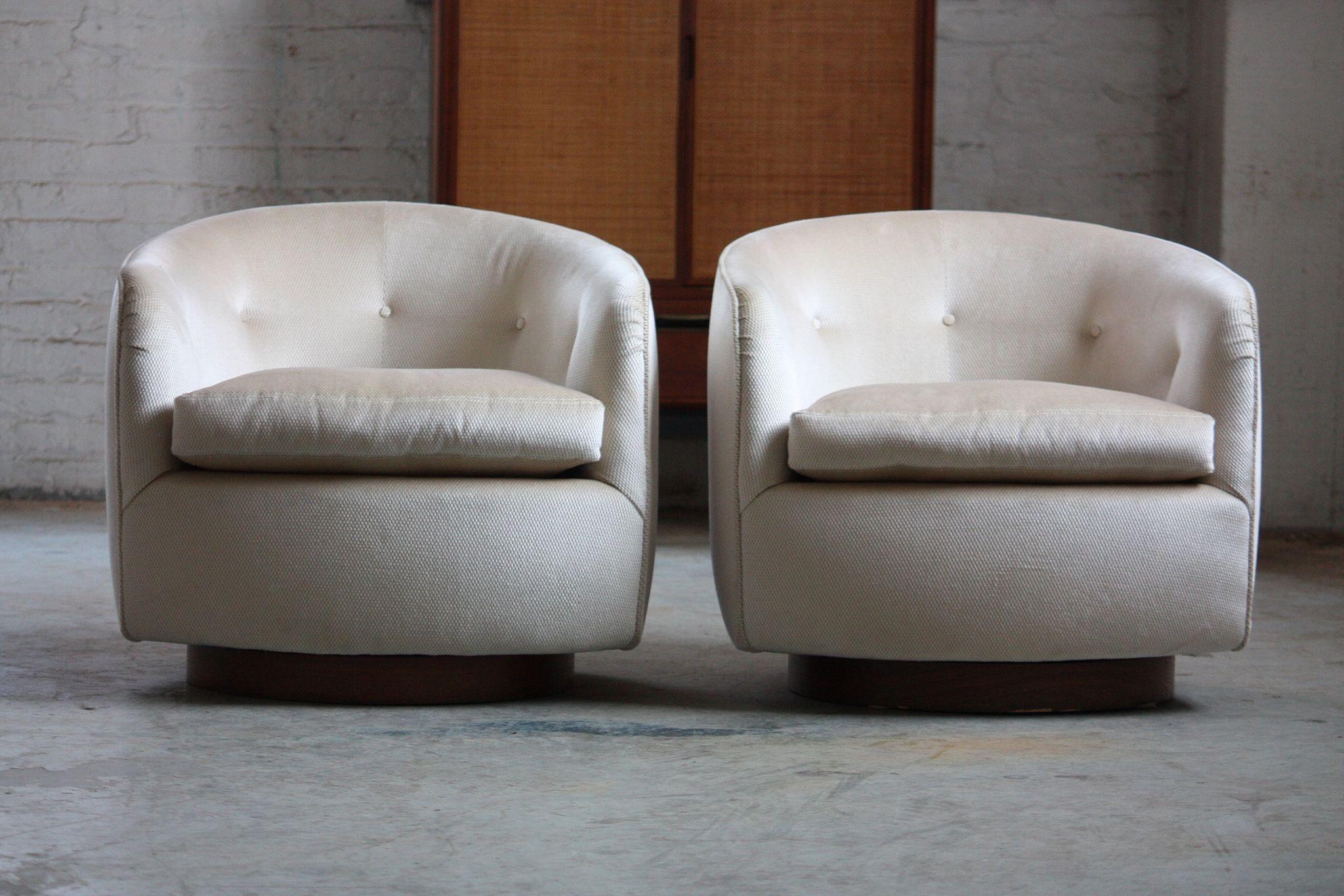 Ferocious Milo Baughman Mid Century Modern Swivel Rocker Barrel Club Chairs  (U.S.A., 1970s) | By Kennyk@k2modern.com