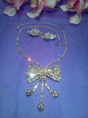 Vtg Baguette Navette Teardrop Rhinestone Dangle Necklace