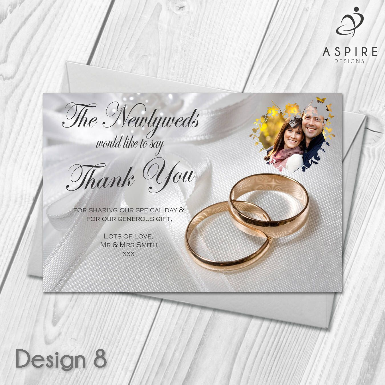 Personalised Wedding Guest Thank You Cards  Digital  Printable DIY